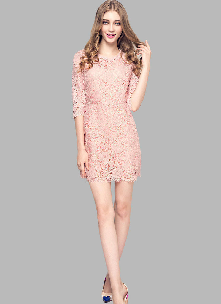 3 Quarter Sleeved Dusty Rose Pink Lace Mini Sheath Dress with Eyelash Details RD547