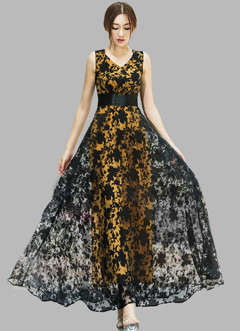 V Neck Black Floral Organza Lace Maxi Dress with Pleated Waist and Yellow Lining RM609