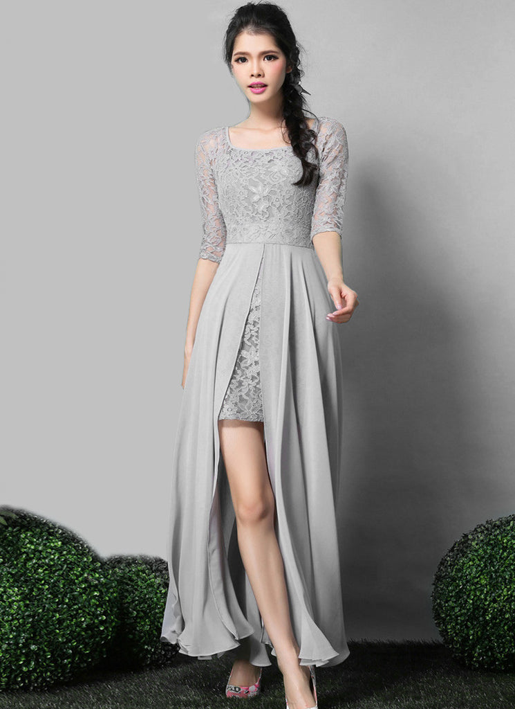 Gray Lace Chiffon Maxi Dress with Scoop Neck and Back