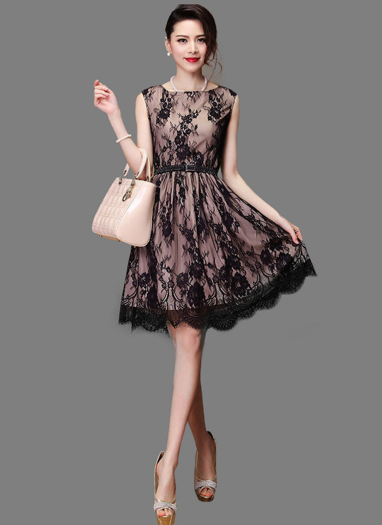 Blace Lace Fit And Flare Mini Dress With Nude Lining