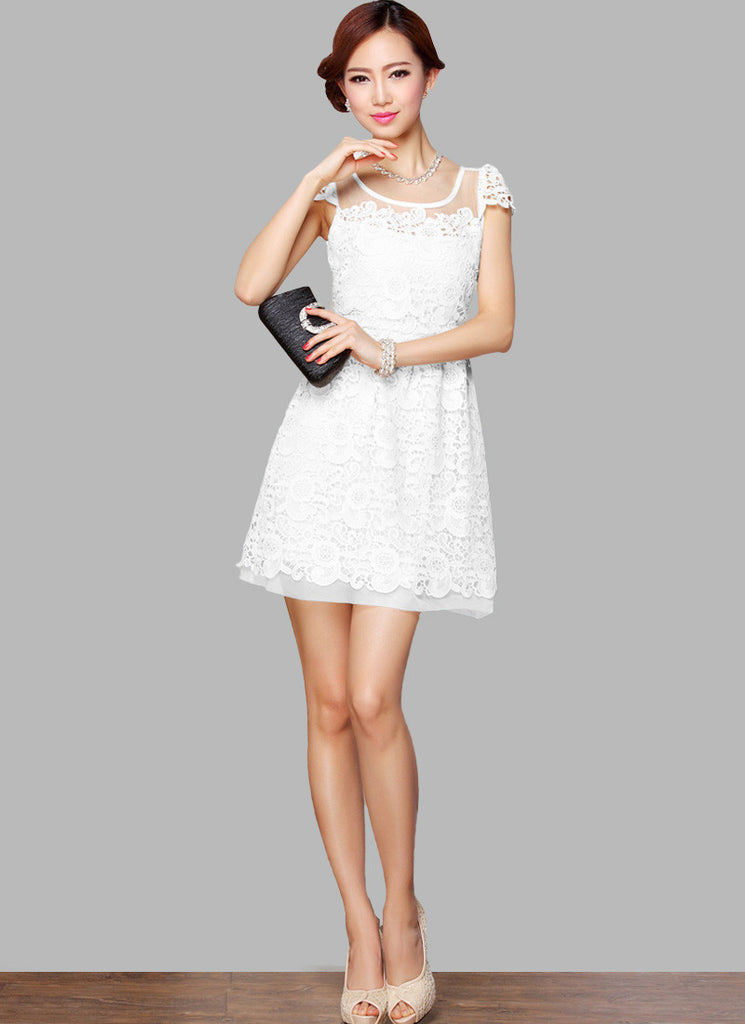 Layered White Lace Aline Mini Dress with Cap Sleeves