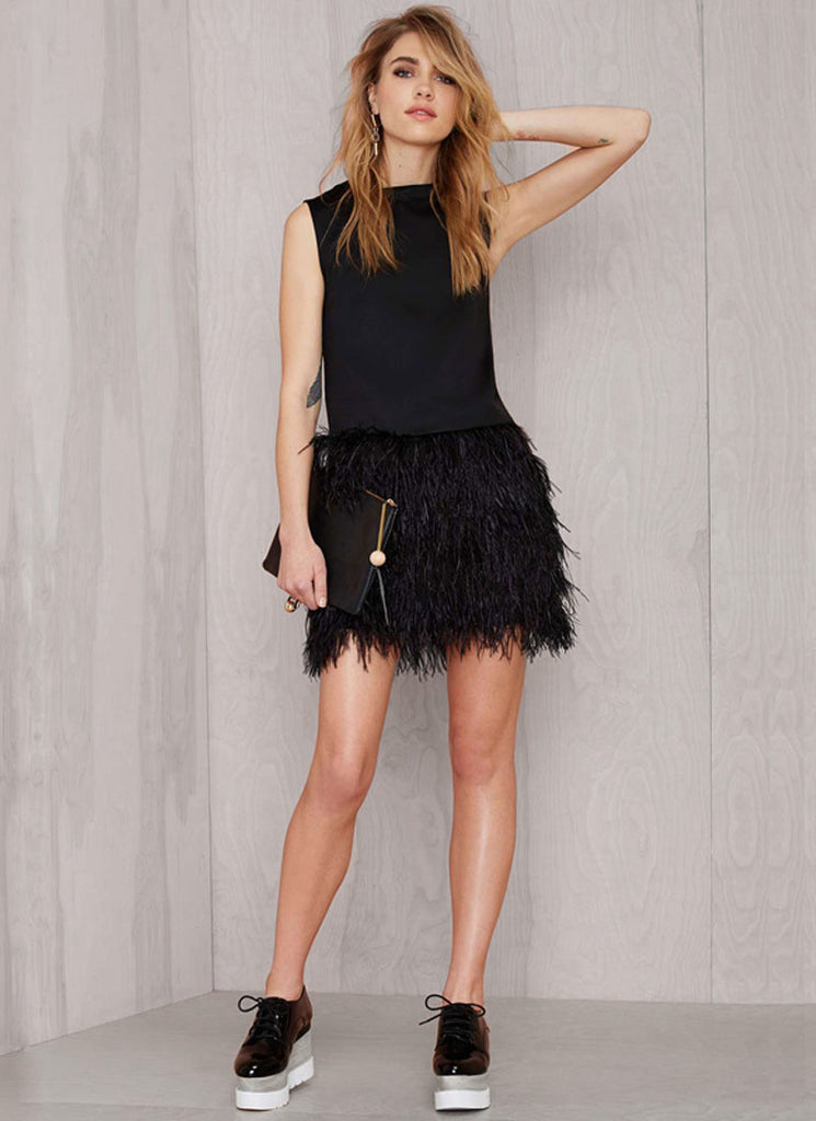 Deep V Back Black Mini Dress with Feather Skirt