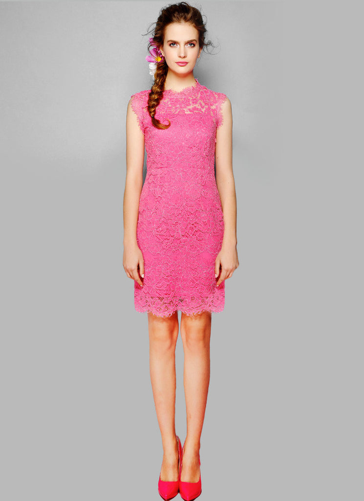 Pink Lace Sheath Dress with Scalloped Hem and Bow Embellishment