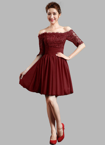 Off-Shoulder Maroon Lace Chiffon Mini Dress with Ruched Waist Yoke RD317