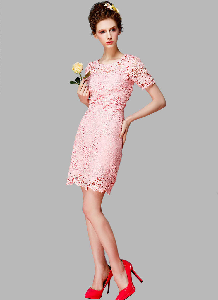 Pink Lace Sheath Mini Dress with Floral Scalloped Hem