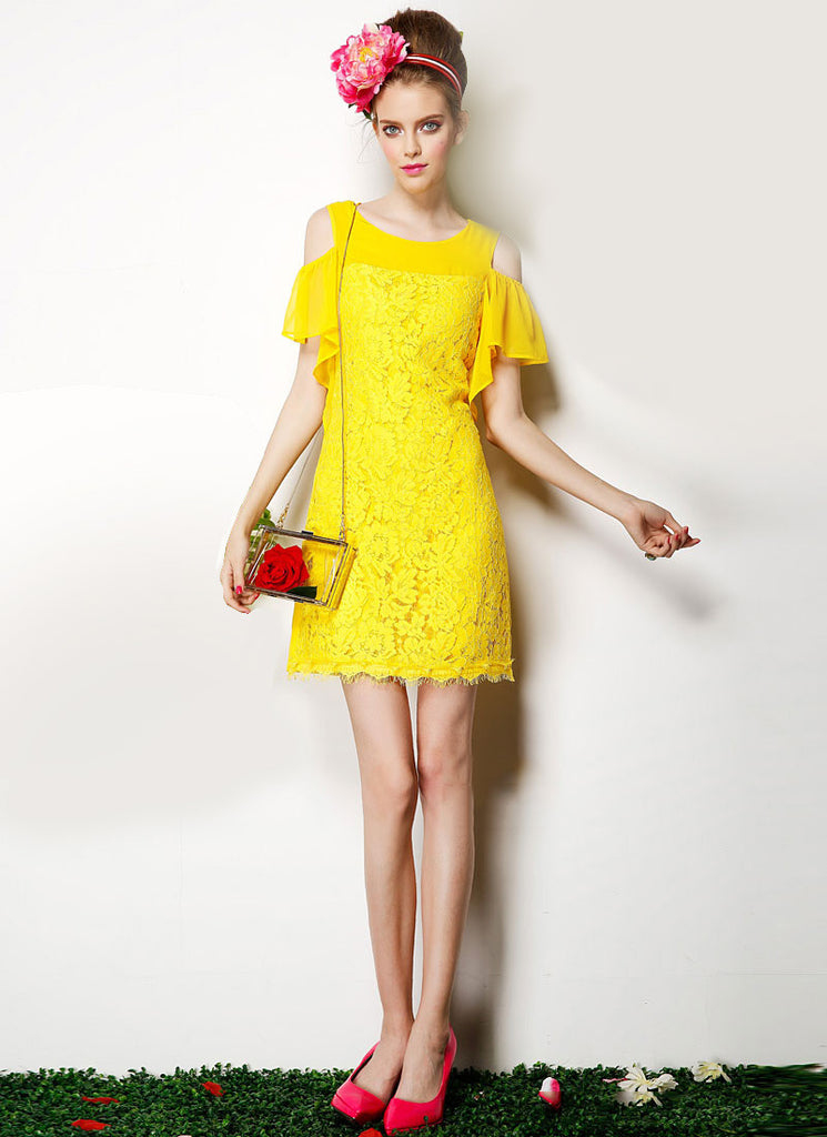 Open Shoulder Yellow Lace Mini Dress