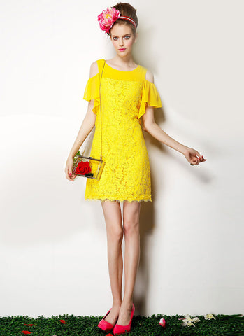 Open Shoulder Yellow Lace Mini Dress RD345