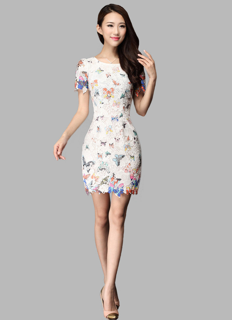5bac8710ae366a White Lace Sheath Dress with Butterfly Print RD17 – RobePlus