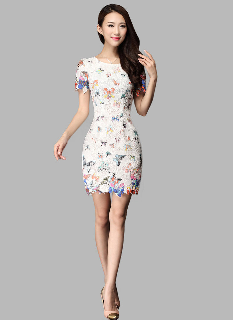 White Lace Sheath Dress with Butterfly Print