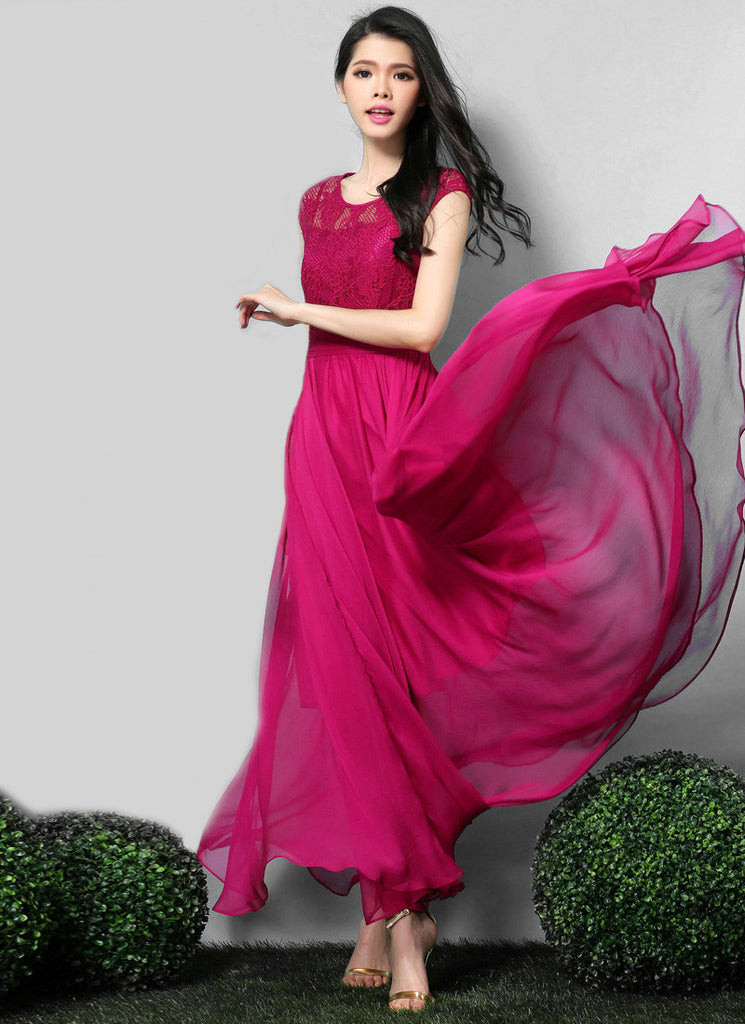 Deep Pink Lace Chiffon Maxi Dress with Cap Sleeves and Pleated Waist Yoke