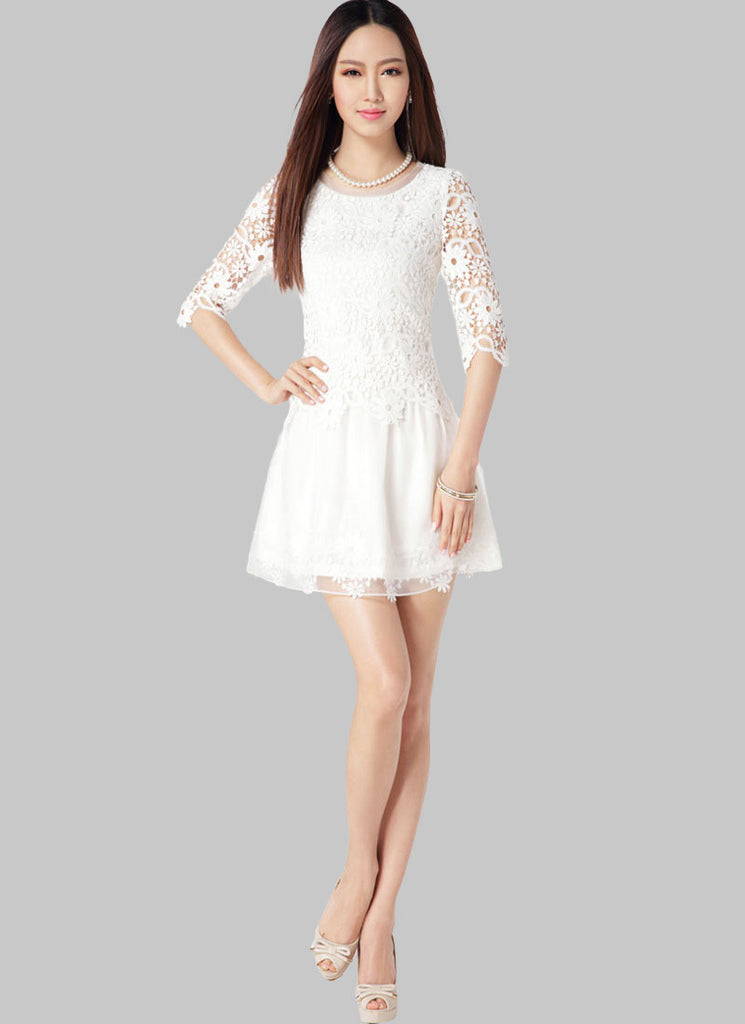 White Lace Organza Mini Dress with Floral Appliqué and Peplum