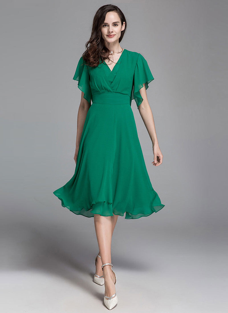 184df988f V Neck Green Chiffon Midi Dress with Curved Waist Yoke and Flutter Sleeves