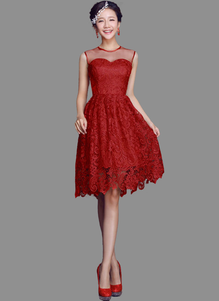Maroon Lace Mini Dress with Floral Scalloped Hem and Tulle Panel