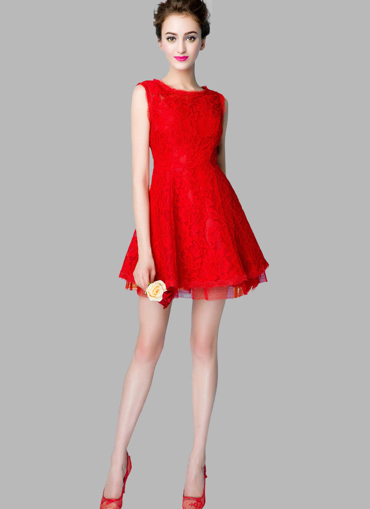 Sleeveless Red Lace Mini Dress with Layered Skirt