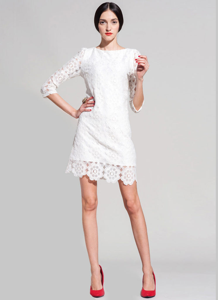 Half Sleeve White Lace Mini Dress with Floral Scalloped Hem
