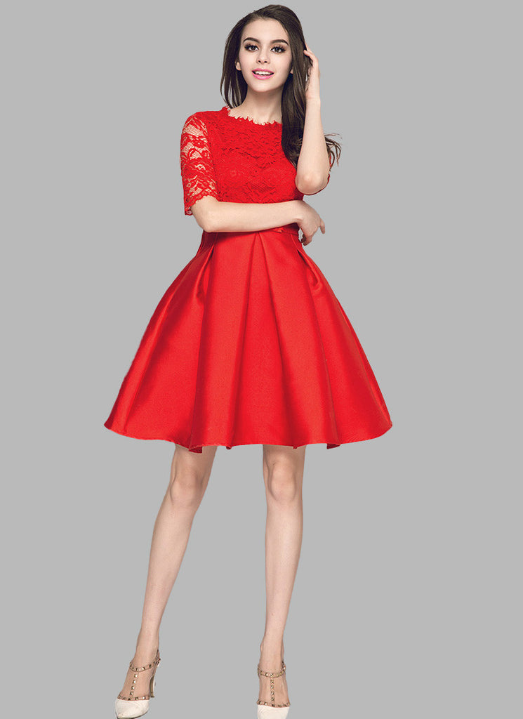 Red Lace Satin Mini Dress with Bow Belt and Eyelash Details