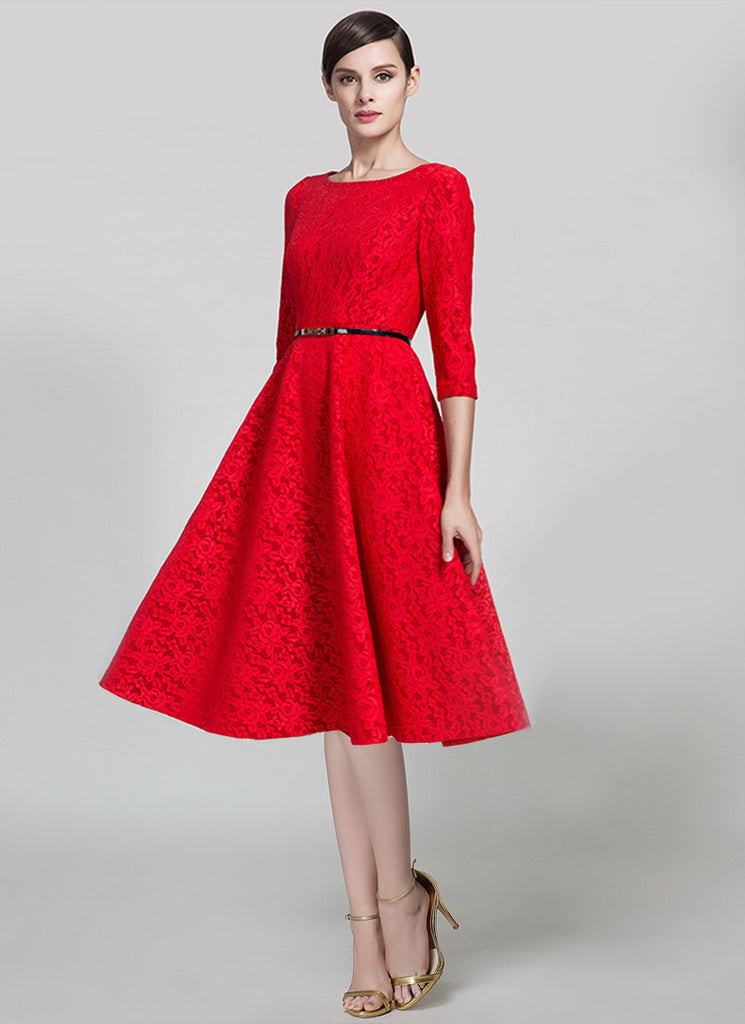 Three Quarter Sleeved Red Lace Fit and Flare Midi Dress