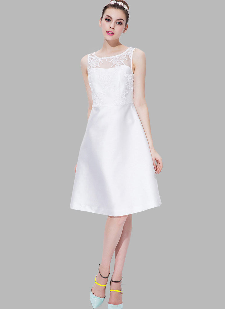 White Tulle Satin Aline Mini Dress with Corded Floral Appliqué