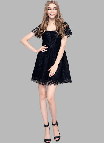 Black Lace Fit and Flare Mini Dress with Square Neck and Back RD549