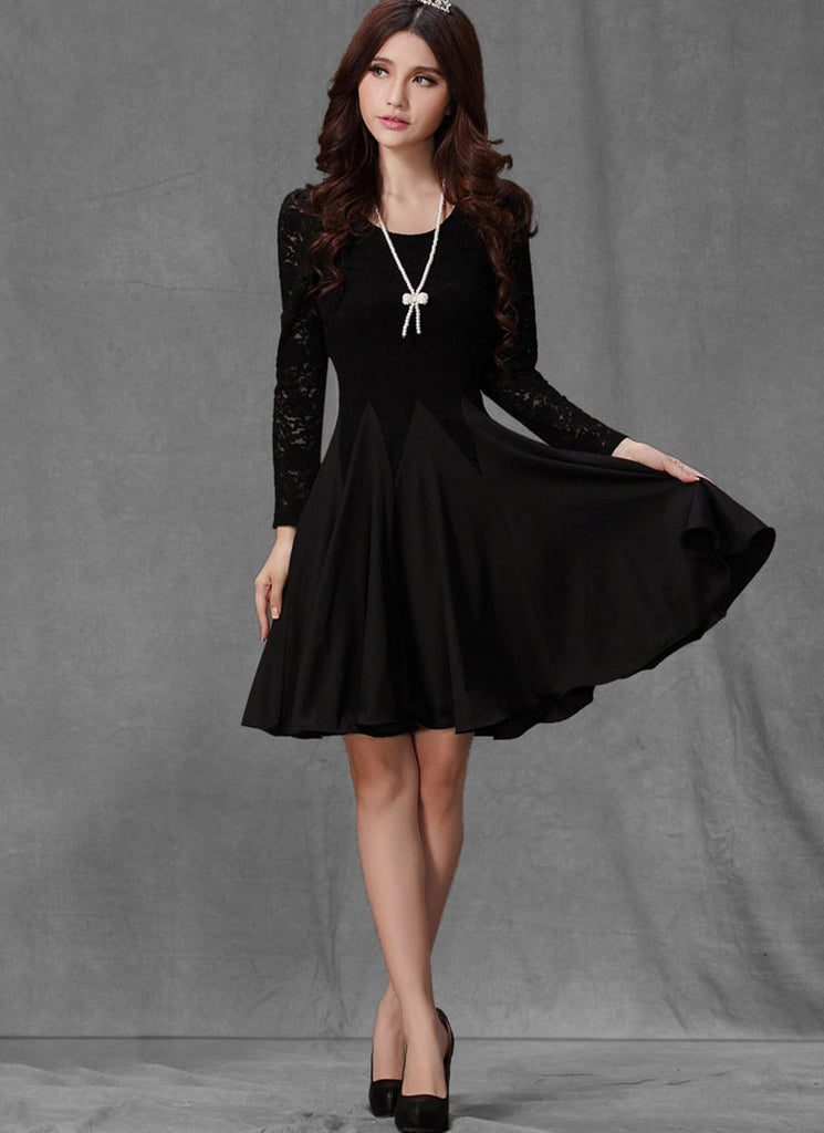 Black Lace Fit and Flare Mini Dress with Long Sleeves R4