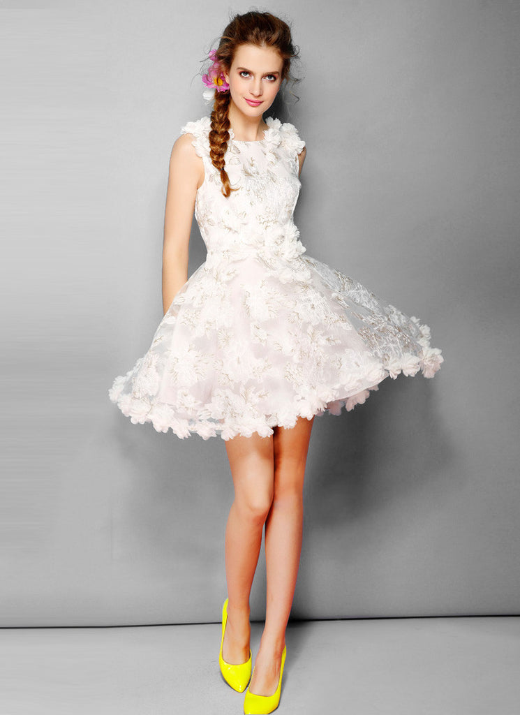 White Organza Fit and Flare Mini Dress with Floral Appliqué