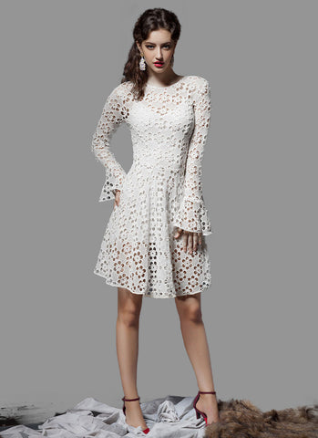 Open Back White Lace Mini Dress with Trumpet Sleeves RD371