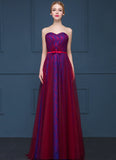 Blue Lace Evening Dress with Maroon Tulle Overlay