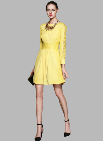 Yellow Mini Dress with Lace Waist Yoke and Sleeves RD133