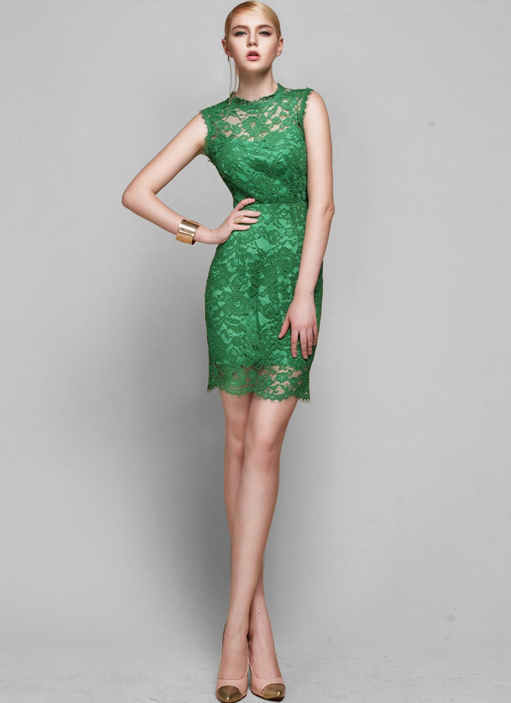 Green Lace Sheath Dress with Scallop Hem & Bow Embellishment