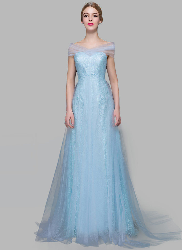Light Blue Lace Evening Gown with Sheer Tulle Overlay RM629 – RobePlus