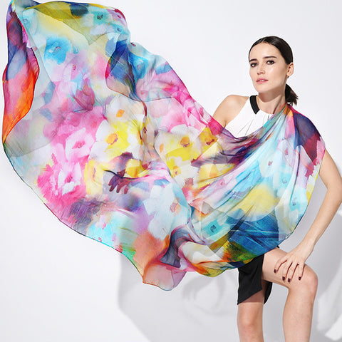 Digital Printed Silk Chiffon Scarf - Bright Color Abstract Floral Silk Scarf - PS2-1