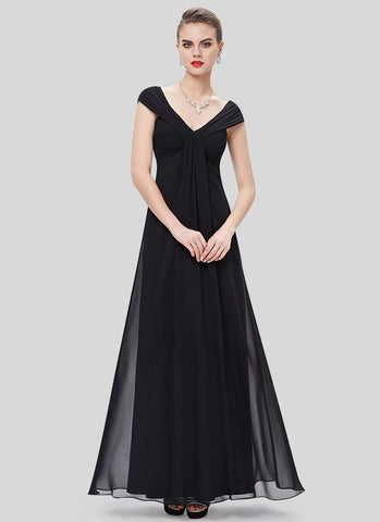 V Neck V Back Black Chiffon Maxi Dress with Hug-Shoulder Design MX47