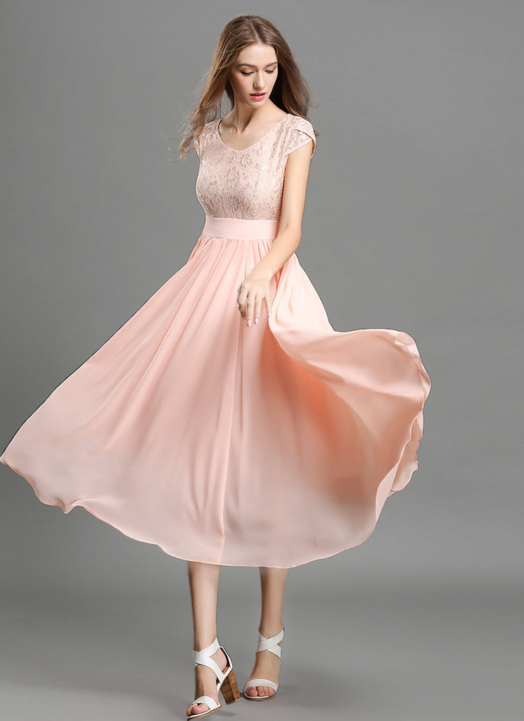 Light Rosy Pink Lace Chiffon Midi Dress with Modified V Neck and Layered Cap Sleeves