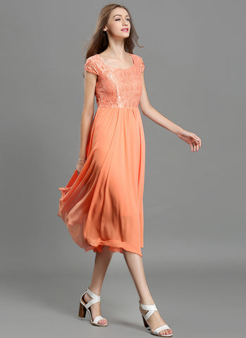 Orange Lace Chiffon Midi Dress with Sweetheart Neck and Layered Cap Sleeves MD41