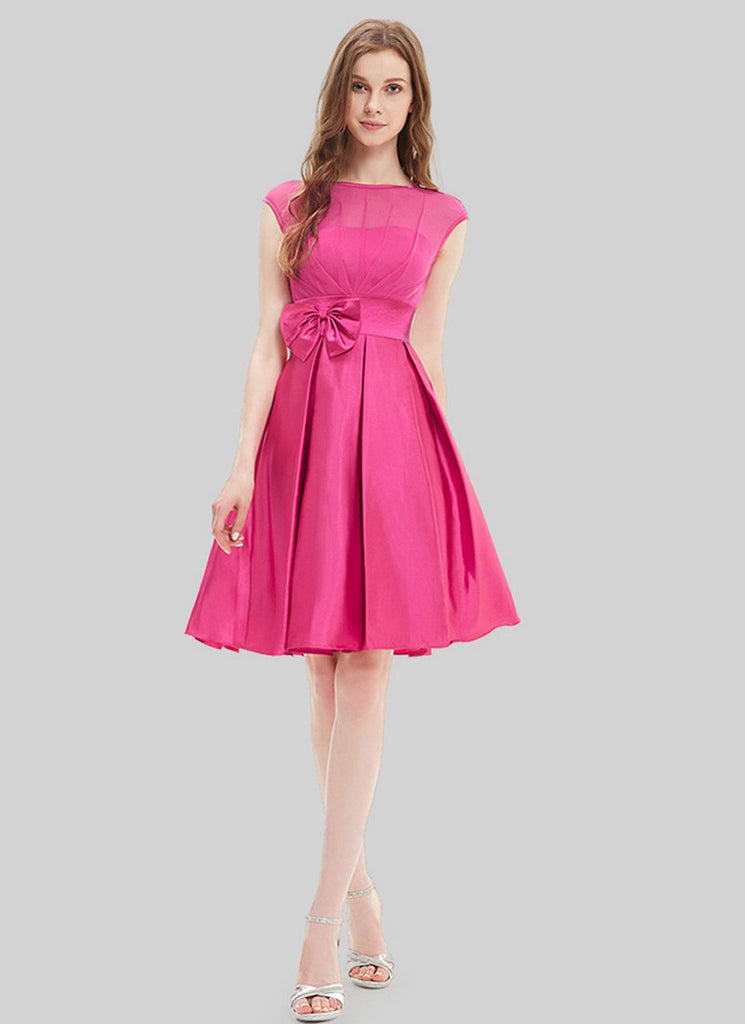 Deep Pink Fuchsia Chiffon Satin Mini Dress with Bow Tie Belt and Keyhole Back