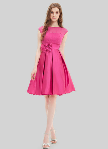 Deep Pink Fuchsia Chiffon Satin Mini Dress with Bow Tie Belt and Keyhole Back MN104