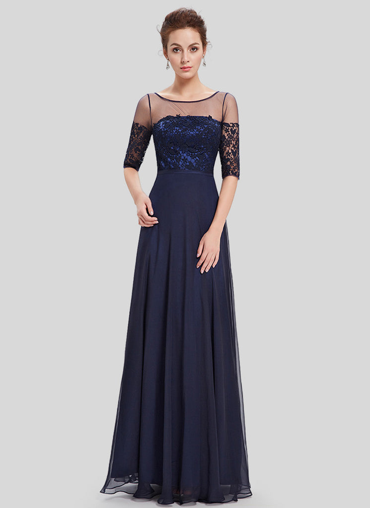 Midnight Blue Lace Organza Chiffon Maxi Dress with V Back