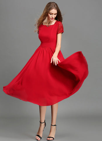 V Back Red Chiffon Midi Dress with Modified Court Neck and Lace Details MD42