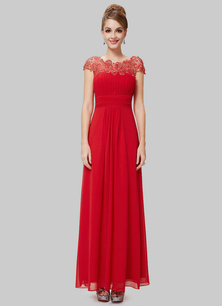 Embellished Open Back True Red Lace Chiffon Evening Gown