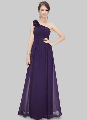 One Shoulder Dark Purple Maxi Dress with Floral Embellishment RM455