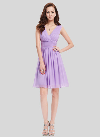 V Neck V Back Thistle Chiffon Mini Dress with Ruched Waist Yoke MN82