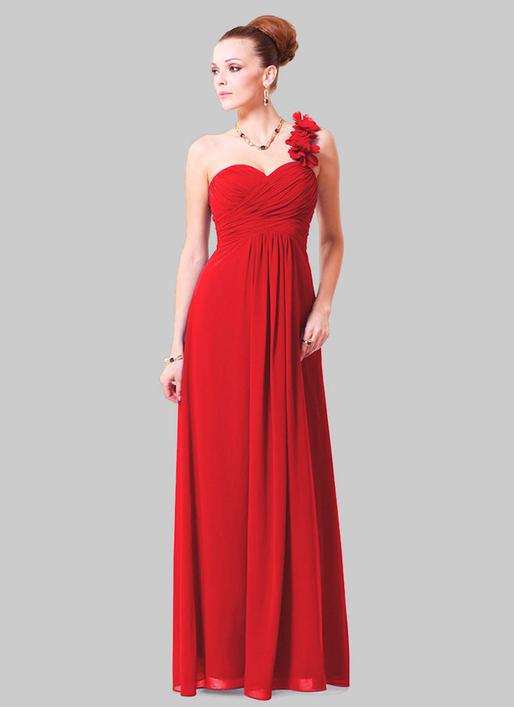 Open Shoulder Red Maxi Dress with 3D Floral Embellishment