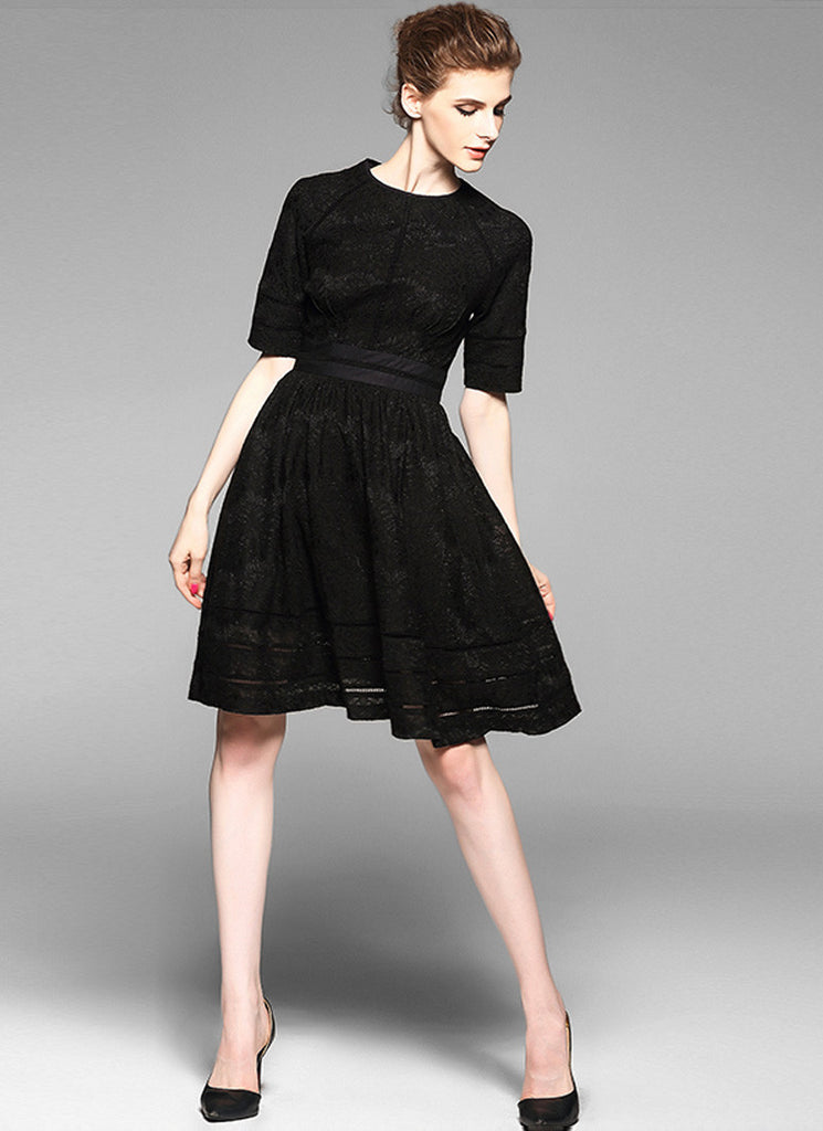 Black Lace Aline Mini Dress with Short Sleeves and Fabric Black Design