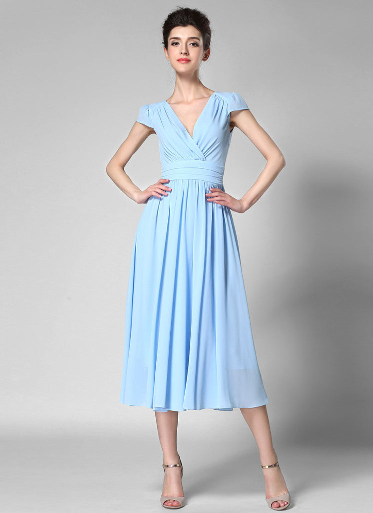 V Neck Light Blue Midi Chiffon Dress with Cap Sleeves and Ruched Waist Yoke