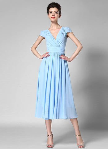 V Neck Light Blue Midi Chiffon Dress with Cap Sleeves and Ruched Waist Yoke MD35