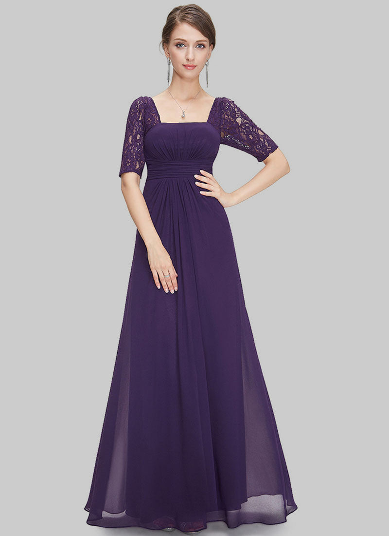 ad002a2ce7e2 Empire Waisted Purple Lace Chiffon Maxi Dress with Open Back RM452 ...