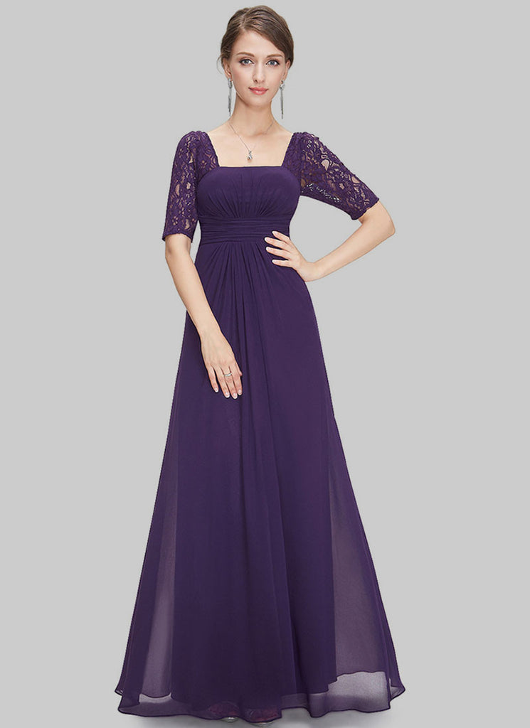 Empire Waisted Purple Lace Chiffon Maxi Dress with Open Back