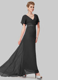 Empire Waisted Black Maxi Dress with Flutter Sleeves