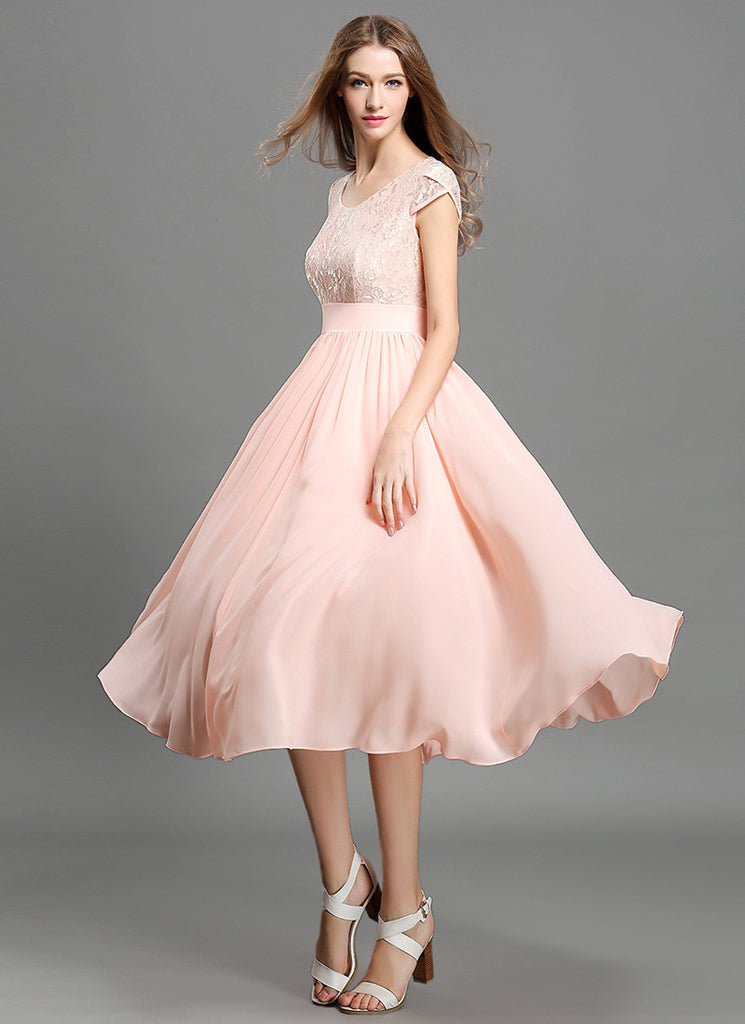 c4a047a096a8 Light Rosy Pink Lace Chiffon Midi Dress with Modified V Neck and Layered  Cap Sleeves