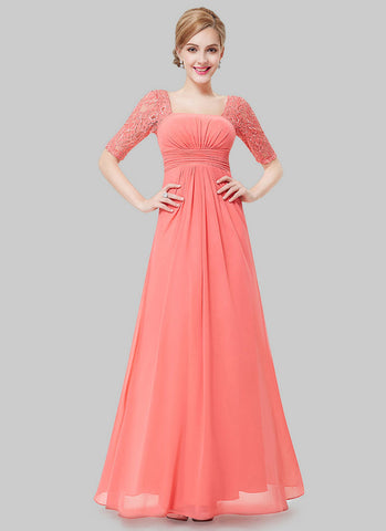 Empire Waisted Light Coral Lace Chiffon Maxi Dress with Open Back RM452